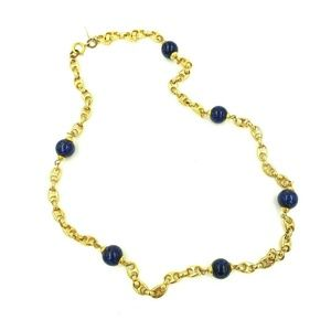 Mimi di N Polished Chain Link Necklace Blue Beads